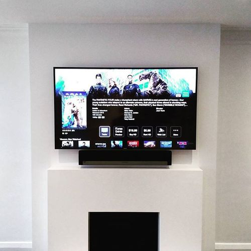 "A 60"" Samsung UN60J6300 mounted above a #Sonos #Playbar.  #URC controls sources located in a basement closet. #AppleTV #FantasticFour"