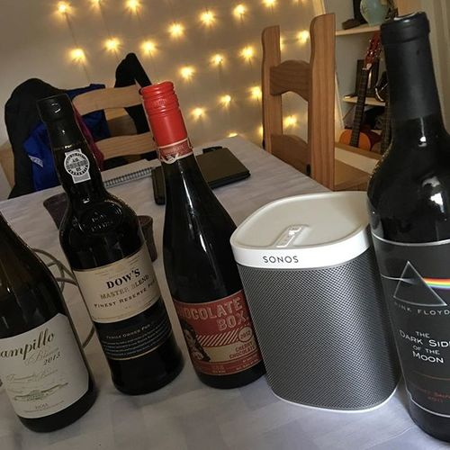 Listening to footy... Dons down to 10.. And 1-0 down... Hangover might need a bit of topping up.... #Sonos #redwine #port #whitewine #pinkfloydcabernetsauvignon #chocolatebox #dowsfinestreserveport #campilloblancofermentadoenbarrica #topuphangover #sundaysesh