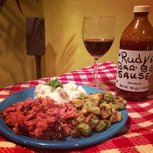 It may be in the #negative #temps #outside but its #hot in here #bbq with @rudysbbq sauce #fried #okra #potatosalad and @tromboneshorty on the @sonos #sonos #play3 #foodie #foodporn #foodphotography