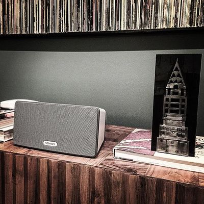 Stormy SF night the perfect time to unbox the #sonos and listen to @joseph_arthur