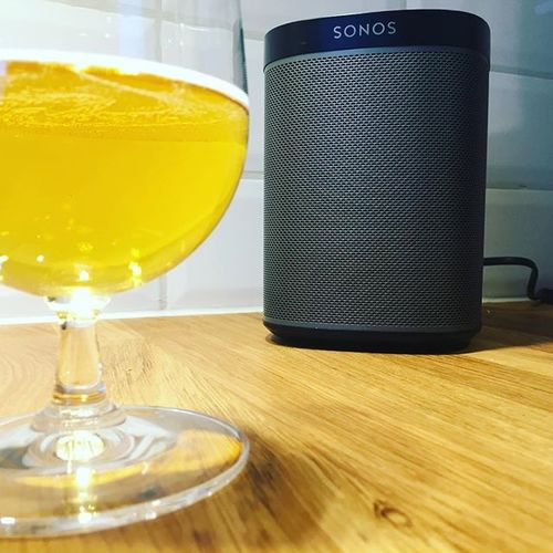Enjoying making dinner with perfect sound!  #sonosathome #sonos #dinner #kitchen #perfect #beer #black #sound #wifi #wireless #spotify #loveit #iphone #apple #hifi