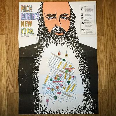 Limited edition screen print Map of Rick Rubin's New York (The Downtown Years 81-88). Drawn by the one and only Seymour Chwast. Available only at the #sonosstore