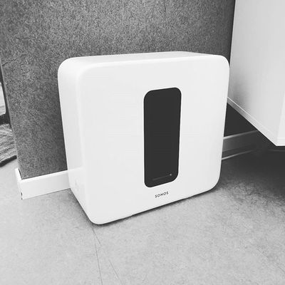 #Gadget of the day, the white #Sonos #Sub is on display in #Berlin prior to the #IFA event. #Sonos just announced partnerships with #Amazon #Alexa, #AirBNB and #Spotify #Connect.