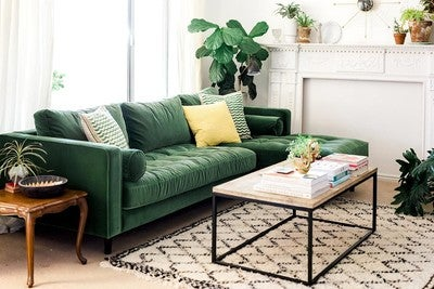 image by Article containing furniture living room room table couch : green sectional sofa - Sectionals, Sofas & Couches