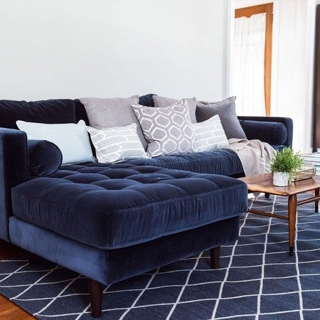 Sven Cascadia Blue Left Sectional Sofa - Sectionals - Article ...