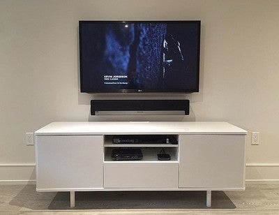sometimes a very simple av system hits the mark for the application. in this case the client wanted a home entertainment setup to be primarly to be used by his teenage kids. priority given to clean, simple, easy to use, and budget conscious. the result is a tv flush mounted with all equipment below in white media cabinet. sound provided by Sonos Playbar and Sonos sub at the back of the room beside the sofa. URC remote provided simple system operation. clean and functional. #baybloorradio #clean #simple #sonos @sonos #design #homedecor #installation #cabinet #soundbar #sub #playbar #custom #doneright #urc #designer #design #minimalism #av #audio #stereo #music #tv #hometheater #modern