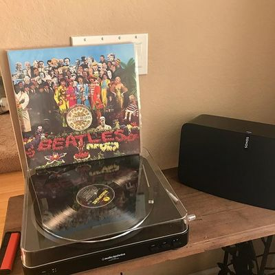 "#tbt ""It was 50 years ago today..."" A landmark album that has stood the test of time! #sgtpepper50 #thebeatles #record #vinyl #play5 @sonos @thebeatles #sonos"