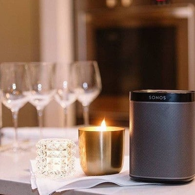 Turn down the lights, turn up the music. Invite Sonos to your next dinner party. #Sonos #play1 #WirelessSpeaker