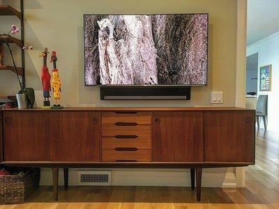 "Install in a condo den. 55"" Samsung tv with Sonos Playbar mounted below and Sonos sub at back of room. sources inside cabinet below and controlled with universal remote. a simple setup that works very well! #picoftheday #installation #style #condo #life #design #av #tv #sound #music #clean #home #decor #den #sonos #playbar #downtown #toronto #suhd @thewrightsound @sonos @samsungtv @urcinsta"