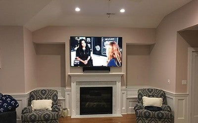 "EVEN 75"" TVs start to look small. Our Client was NERVOUS that the @samsungusa @samsungtv was going to overpower the room. Once we put it up, it was a perfect fit. With a @sonos #PLAYBAR & #SUB the client can either enhance their #TV experience or #STREAM every #audio source imaginable from @siriusxm to @spotify to @tidal to @applemusic and BEYOND. The entire #JERSEYSHORE #beachhouse is running on @control4_smart_home #CONTROL4 • this is just ONE of MANY customized individual rooms in this #BEAUTIFUL #NJ #getaway #customintegration #CUSTOMHOME #custominstall #CONTROLFREAK #CONTROLFREAKNJ #NEWJERSEY #SONOS #SAMSUNG"