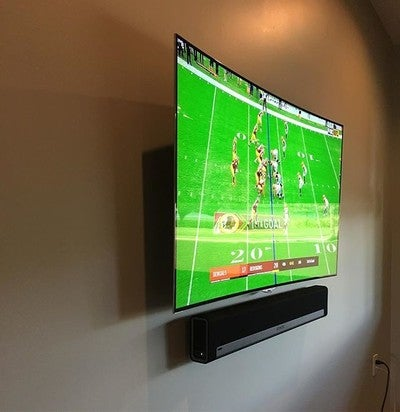 no wires!! Give us a call! Get your tv mounted and wire free! #tv #sonos #playbar #lg #a/v #audiovideo #kreative
