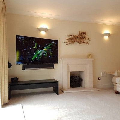 "The stunning #panasonic Viera TX 55EZ952B ‑ 55"" OLED with #sonos #playbar #sub #play1 #sanus with cabling concealed."