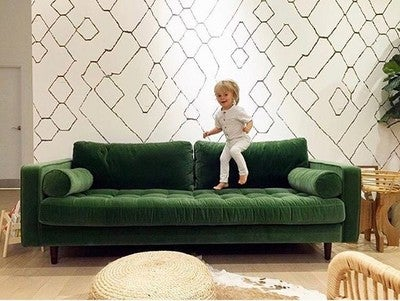 Image By Gatherwiththeskinny Containing Furniture Couch Green Living Room Wall