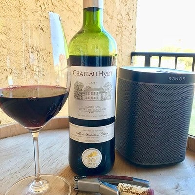 Happy  mid week time to relax and enjoy  2014 Chateau Hyot Red Bordeaux #humpday #chateauhyot #cotesdebordeaux #frenchwine #grandvindebordeaux #bordeaux #castilloncôtesdebordeaux #pensacolabeach #sonos #play1 #radiomonaco #tunein #riedel