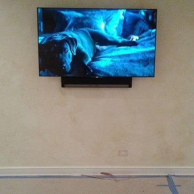 House not quite ready but at least they can watch some #johnwick2 or #wonderwoman and then there's always #audio from the #sonos #playbar #sony4k #appletv going to be controlled by #control4 #nowires