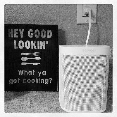 Cooking with my good looking Sonos One... #sonos #sonosone #alexa #cooking #goodlooking #lovesonos #blackandwhite