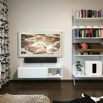 A little upgrade for TV and stand. #nofilter #samsungframe #sonos #sonossub #sonosplaybar #coloryoursound @sonos @samsungsuomi @coloryoursound @gigantti #woodstock2.0 #tvstand #cordless