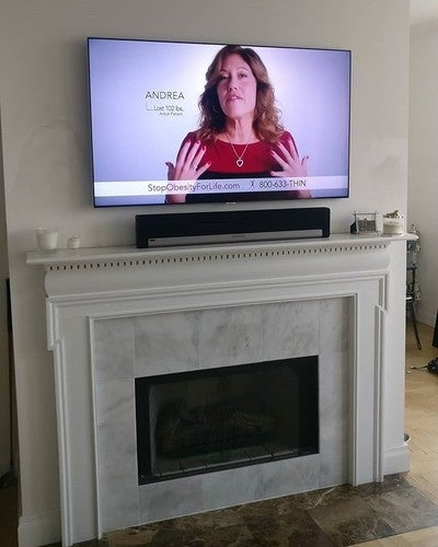 Where did the wires go? Oh, they're just going to the BACKSIDE SIDE OF THE WALL!  #samsungtv #samsungmount #sonos #playbar #taskrabbit #handyman #homeimprovement #diy #nyc #home #smallspaces #wallmountedtv #wallmounted