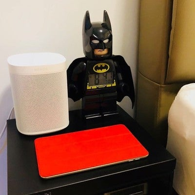 Batman... meet Alexa  coolest speaker I have ever owned... Sonos One... great sounding and so smart.. #sonos #sonoshome #sonosone #alexa #batman #smarthome #smartspeaker #amazonalexa #ipad