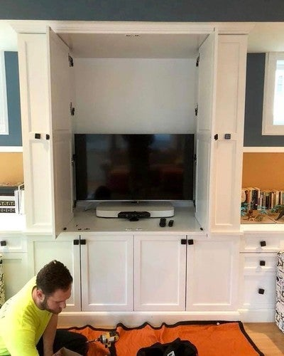 Recent TV in cabinet installation in progress #avexperts #tvinstallation #westessexnj #sonos #hometheater #audiovideo #northjersey #sonosplaybase