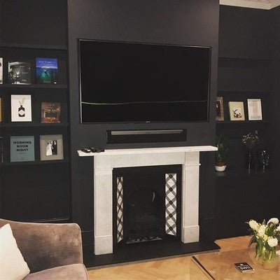 An install dictated by the room shape and screen size. We work with the designer and builders for the best possible solution. . . . . . . . . . . . . #AV #middleatlantic #chelsea #nottinghill #smarthome #london #audiovisual #wyrestorm #smarttech #tech #luxury #interior #engineers #sonos #samsung ##interior #retrofit #integration #playbar #builders