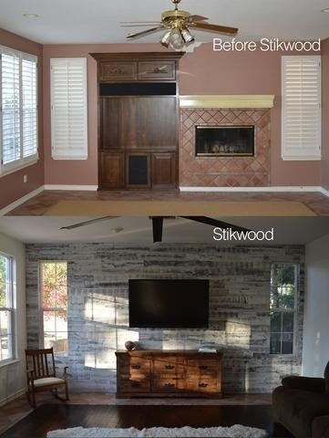 Image By Stikwood Containing Living Room Fireplace Wall Cabinetry