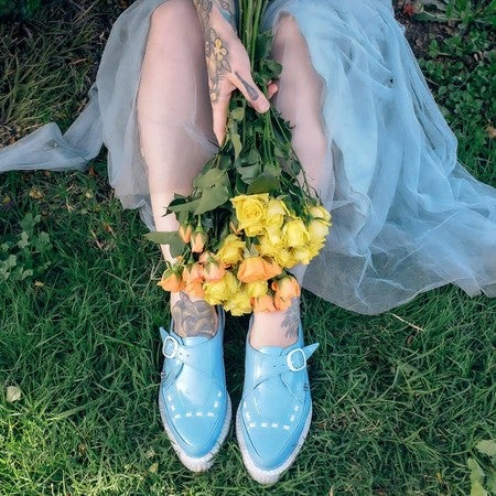 buy online abac3 e74aa image by tuk footwear containing Yellow, Footwear, Grass, Bouquet, Shoe